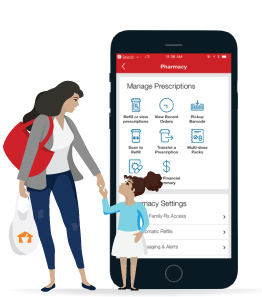 Mother and daughter Navarro shopper graphics overlaid to large CVS prescription management app view on smartphone.